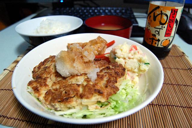 鶏モモとエビミンチのハンバーグをおろしポン酢で!#jisui