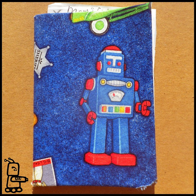 fabric covered mini notebooks, robot