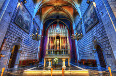 The Azure Cathedral (Stuck in Customs) Tags: world barcelona street city travel urban espaa art history tourism church stone architecture digital painting photography design blog high spain europe mediterranean dynamic stuck cathedral basilica religion gothic central azure pedestrian cata