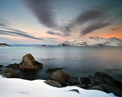 Tromvik (peterspencer49) Tags: ocean winter sunset sea sky mountain snow seascape norway rock clouds evening coast europe moonlight coastline fjord artic seaview coastalpath tromso winterview stunningview seascene tromvik oceanveiw 5dmkll peterspencer stunningseascape tromviknorway