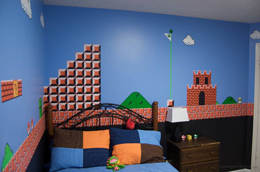 Dad Paints Super Mario Bros Level In Sons Room