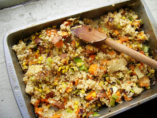 quinoa with roasted sweet potatoes, leeks, and corn