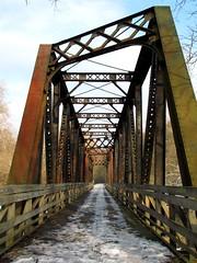 First Bridge on the Kokosing Gap Trail, Late Winter (thatSandygirl) Tags: snow winter path railroad bridge brown orange rust steel mount vernon ohio knox county kokosing gap trail scenery