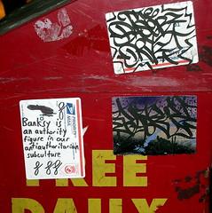 In the Village (LoisInWonderland) Tags: newyorkcity streetart graffiti sticker stickerart postal handstyle baser