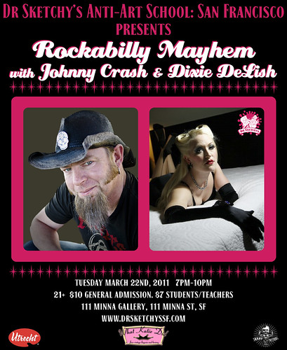 Dr Sketchy's SF presents Rockabilly Mayhem! Tues March 22nd. 7pm-10pm