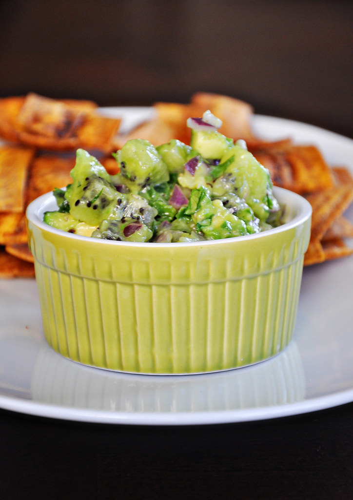 Fried Plantain Chips with Avocado Kiwi Salsa