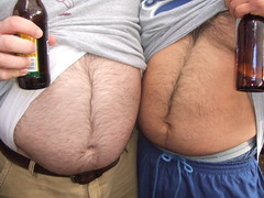 Ian & Ernie's Happy Trails (I.E. Bear II) Tags: friends man guy beer happy gut big furry fat chub dude belly trail bubba beerbelly chubby thick gordo bellies panza happytrail panzon pansa stocky panson