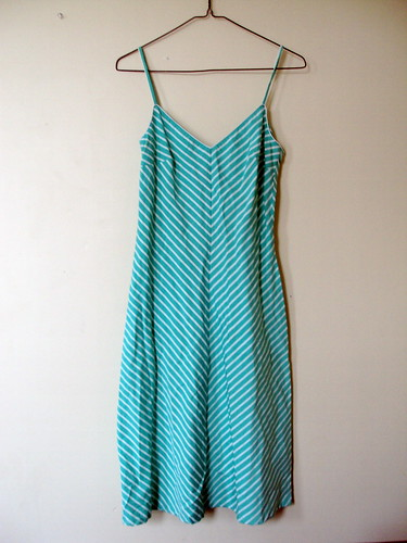 Seafoam Green & White Striped  Summer Dress