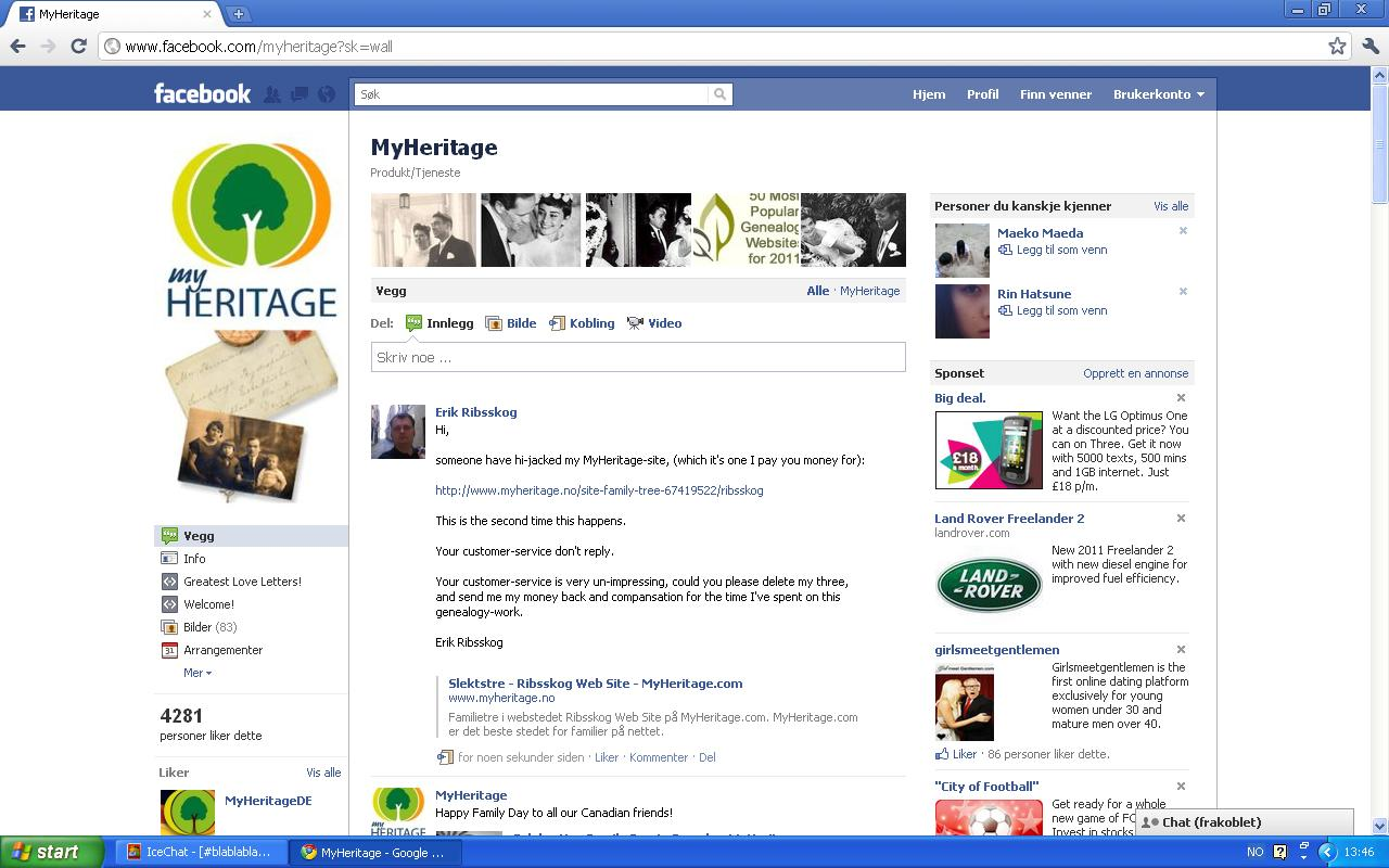 myheritage klage facebook