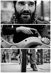 Triptychs of Strangers #3: The Cyclist, Paris (adde adesokan) Tags: street travel bridge portrait blackandwhite bw white black paris dylan hat fashion bike pen bag photography shoes triptych cyclist bokeh voigtlander voigtlaender rad streetphotography bob tire olympus stranger portrt puzzle cycle sw mann augen schwarzweiss mode weiss schuhe schwarz fahrrad voigtlnder 25mm triptic ep1 tryptic haare triptychs f095 tasche streetphotographer m43 triptychon mft mirrorless triptychons 100strangers microfourthirds theblackstar mirrorlesscamera streettogs triptychonsofstrangers triptychsofstrangers