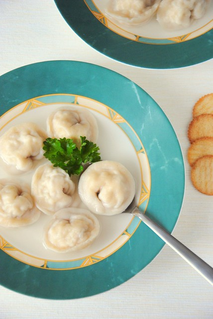 Soup Brodo with tortellini with chicken and cheese