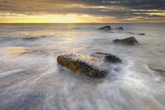 Golden hour... (Stuart Stevenson) Tags: longexposure morning seascape motion seaweed water clouds photography dawn golden scotland rocks tide wideangle northsea clydevalley eastneukoffife canon1740mm thanksforviewing archiveshot september2010 canon5dmkii stuartstevenson stuartstevenson happysliderssunday becausetheskiesaregrey