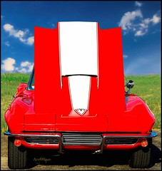 on the sunny side (AceOBase) Tags: red summer usa sunlight classic car canon photography cool classiccar smooth icon chrome carshow vette musclecar coolcar showcar worldcars hangingoutwiththefamily alltypesoftransport photoartbloggroup notafordbutstillonefineauto certifiedcarcrazy