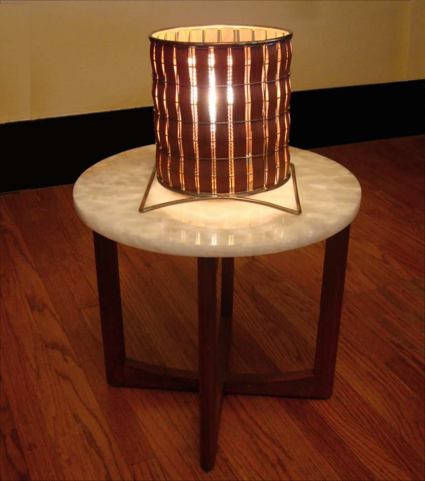 Mid Century Modern Teak Canister Lamp