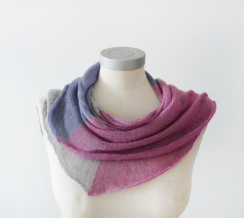 viscose cotton spring scarf -blue pink and gray