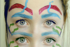 Seeing (TessN-F) Tags: pink blue green colors girl face hair four eyes colorful paint bright watch watching doubles