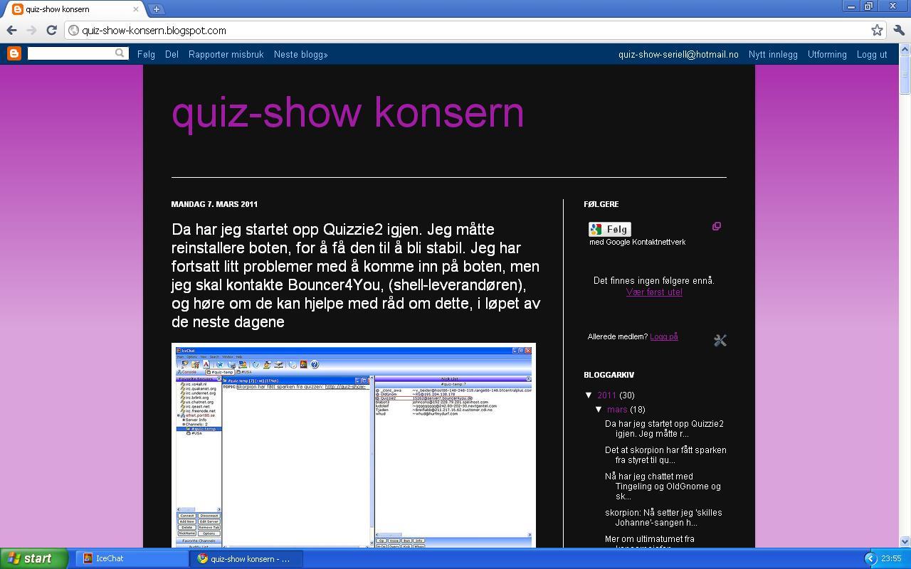 quiz show konsern blogg startet opp quizzie2 igjen