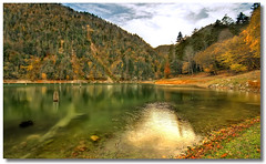 Hidden Paradise: Suluklu Lake, Turkey (Slkl Gl), Part 1 (HDR) (Kuzeytac) Tags: autumn red sky orange cloud mountain lake color colour reflection tree green fall water yellow pine trekking trek turkey landscape leaf oak trkiye turkiye stump reflexions leyla dda lsi gl sigma1020 sakarya slklgl supershot topshots adapazari the4elements canoneos400d canondigitalrebelxti colorphotoaward akyazi kuzeytac 100commentgroup saariysqualitypictures doublyniceshot doubleniceshot fleursetpaysages mygearandmepremium artistoftheyearlevel3 suluklulake lelitedespaysages