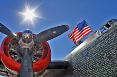B-24J Bomber (photographyguy) Tags: plane airplane louisiana aircraft military wwii americanflag patriotic worldwarii ww2 bomber propeller liberator shreveport b24 warplane collingsfoundation b24j wingsoffreedomtour downtownshreveportairport