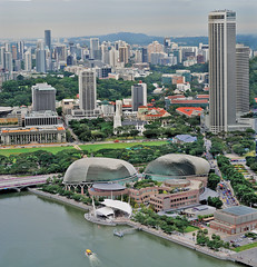 The Esplanade – an update on Marina Bay Singapore (williamcho) Tags: buildings singapore esplanade hotels offices parliamenthouse skypark marinabay imagesofsingapore 2011 singaporeupdate aerialarchitecture