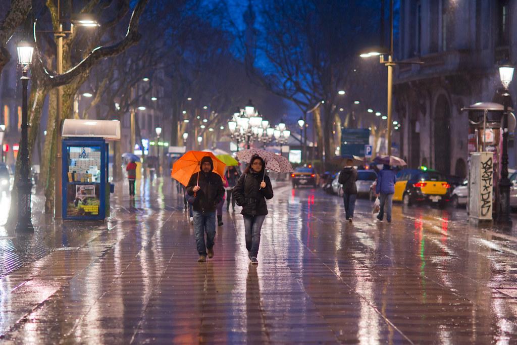La Rambla In The Rain - 3