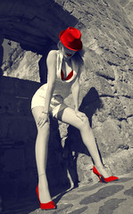 [フリー画像] 人物, 女性, ファッション, 帽子・キャップ, 201103170900