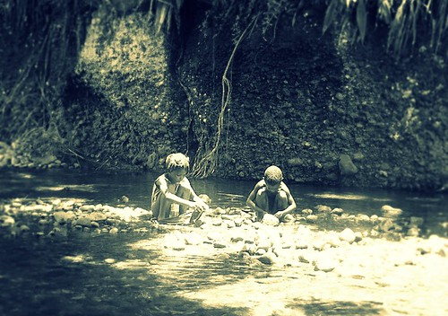 kids in river
