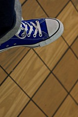 70. Foot to Floor (AttitudeAJM) Tags: wood nyc blue white newyork black feet tile foot nikon floor nikond50 sneakers jeans converse chucks laces royalblue anthonyjmerced