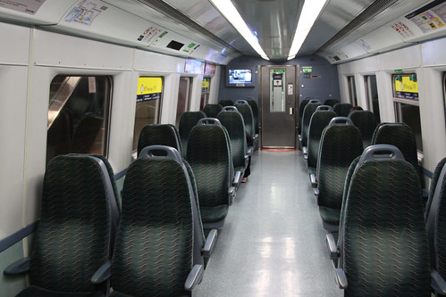 First class seating in a refurbished Metro Cammell EMU
