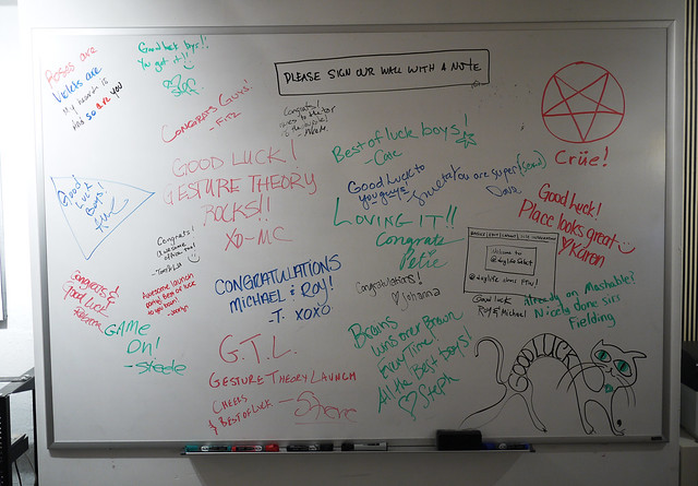 whiteboard at Gesture Theory Launch