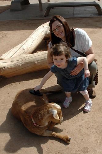 Madeline & Karen in the petting zoo