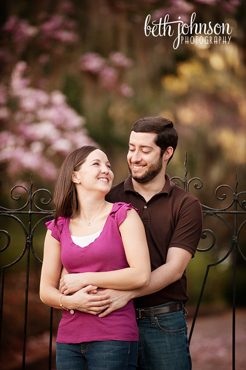 engaged couple at maclay gardens in tallahassee