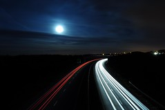 Light trails of cars with the moon (NightSnapper) Tags: night dark motorway dusk fullmoon nighttime lighttrails dim northeast carlights dull northbound pitchblack dualcarriageway a19 movingcars motorwaytraffic lightsmoon fastmovingcars nikond5000 nightsnapper carlighttrailsatnight