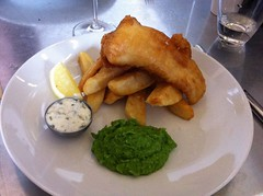 Fish and chips at Cafe Fish, Leith, Edinburgh