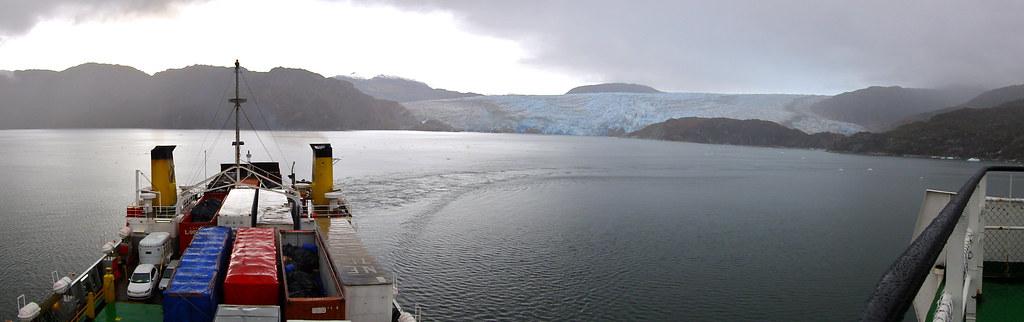 Navimag's Puerto Eden leaving Glacier Pio XI