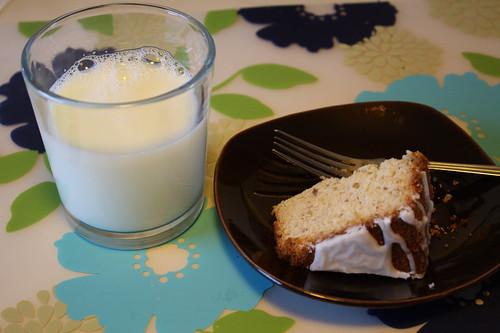 milk, almond cake