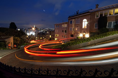 Lombard Street (Lee Sie) Tags: sanfrancisco street night lights curves neighborhood coittower baybridge lighttrails streaks russianhill