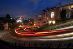 Lombard Street (Lee Sie) Tags: sanfrancisco street night lights curves neighborhood coittower baybridge lighttrails streaks russianhill