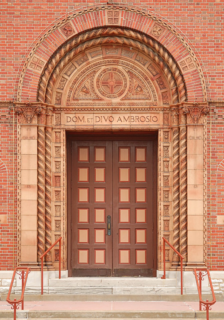 Saint Ambrose Roman Catholic Church, in Saint Louis, Missouri, USA - front door