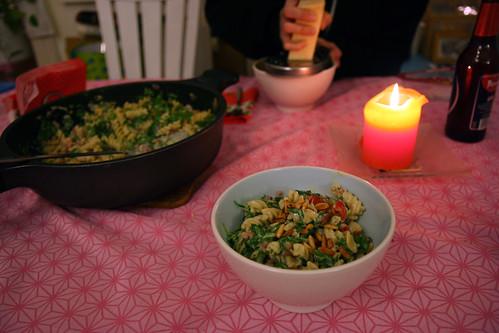 pasta mit spinat, mascarpone & speck