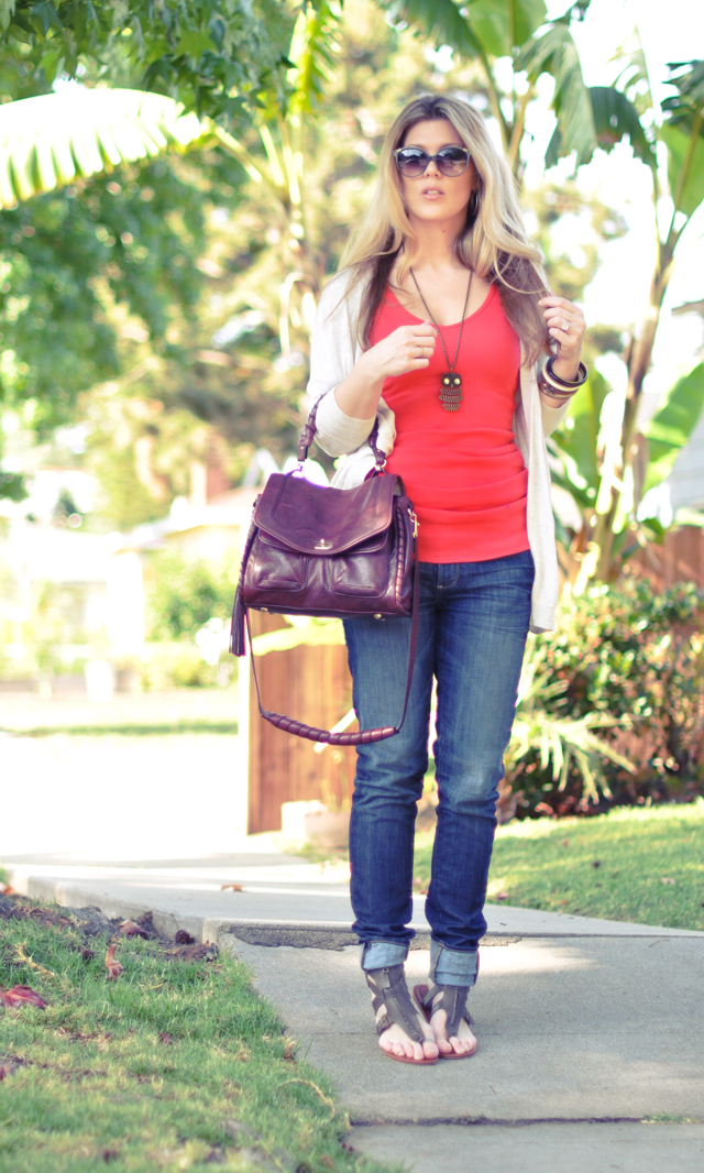 easy throw on go  to outfit jeans    and a cardigan