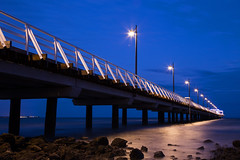The Shorncliffe Pier (PJ Reading) Tags: shorncliffe pier jetty queensland qld australia evening afternoon night sky dramatic tourist tourism ocean sea water beach coast moretonbay bayside coastline lights walk walkway people brisbane bne rocky waves tide