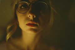 (Courtney Emery) Tags: selfportrait portrait candlelight nude female blonde glasses low light