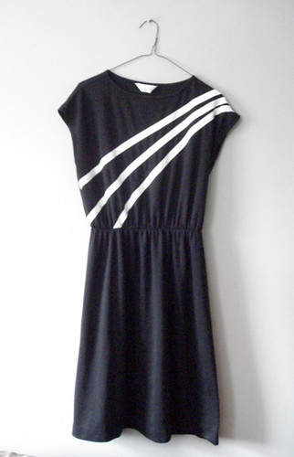 White Cross Body Stripe Dress