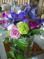 Spring Centerpiece (azaleafloraldesign) Tags: roses blues greens irises viburnum purples