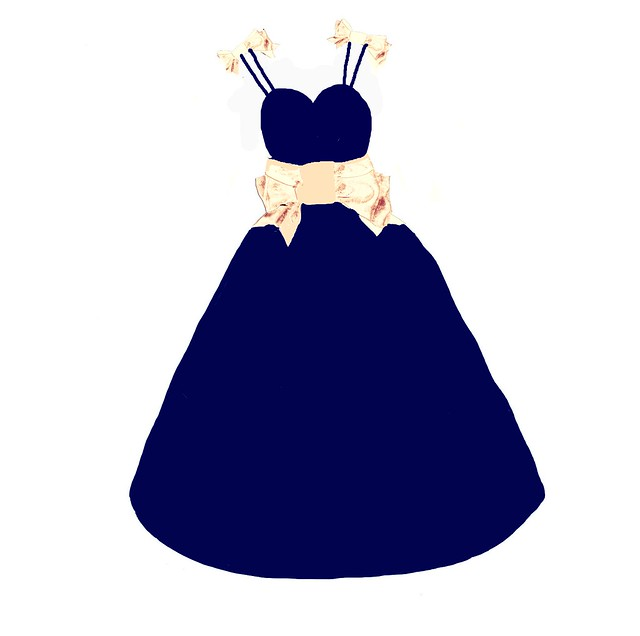 navy and peach dress formal 2