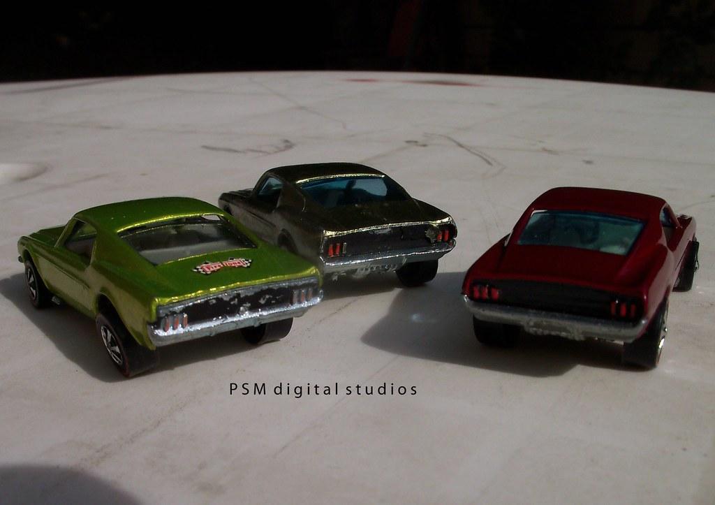 Mustang Fastback Trio 1967 & 1968 Mattel Hot Wheels Redlines