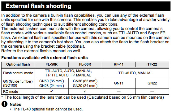 External flash shooting functions, on Page 78 of the Olympus E-5 Manual