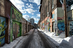 Alley Stalking (Dan Cronin^) Tags: winter snow toronto dan photography graffiti photographer 32 cronin krew osker graffitialley belio dancronin manr dancroninjpg tgamphotodeskgraffiti