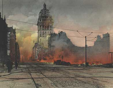 San Francisco Earthquake of 1906, Market Street Fire postcard.